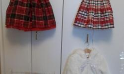 ALL IN MINT CONDITION! BABY GIRL CHRISTMAS DRESS SIZE 24 MONTH IN BEAUTIFUL PLAID TAFFETA. ASKING $15.00 BABY GIRL CHRISTMAS DRESS SIZE 18 MONTHS BLACK VELVET TOP WITH FAKE FUR COLLAR WITH A BOW FROM THE TAFFETA PLAID SKIRT. ASKING $15.00 GYMBOREE
