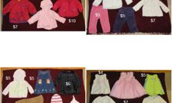 ALL ITEMS LIKE NEW, FROM SMOKE AND PET FREE HOME Baby girl clothing, all brand name (Carters, Children's Place, Joe, Old Navy, Gap, etc.) sizes 12-18 months. Pants, skirts, jeans, dresses, jacket, vest, shirts, sweaters, etc. Great deals, prices vary on