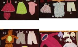 ALL ITEMS LIKE NEW, FROM SMOKE AND PET FREE HOME Baby girl clothing, all brand name (Carters, Children's Place, Joe, Old Navy, Gap, etc.) sizes 9-12 months. Pants, dresses, shirts, hats, etc. Great deals, prices vary on each article. If you see this ad,