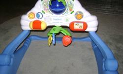 Leapfrog centre, plays music and lights up, can be used in two stages. - $5 Winnie the pooh stroller toy, can be attached to stroller or crib, makes noise - $3 Oceans activity centre, plays music and lights up, can be adjusted for different stages - $5
