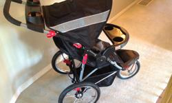 The is a new STROLLER... BABY TRENDS...EXPEDITION ...stroller... Light weight... Folds very easily... Swivel from wheel for jogging.. Fix in place... the front wheel for walking... 5 point harness... swivel tray for easy access.. Shelf for carrying