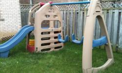 GET READY FOR SPRING 2012! Backyard Swing Set and Playhouse A multi-purpose outdoor playhouse and swing set combination that is great for group play. Feature: Two sturdy and comfortable swings A toddler swing attachment is also included as a bonus
