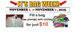 Surprise!! We are happy to announce that the $10 Bag week continues! November 2 - November 7, 2015 --> Fill a bag (we provide) with clothing for just $10! <-- *excludes winter jackets and accessories We are located at 404 N. May St. Open Mon-Sat 10am-5pm