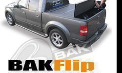 One of the best Hard folding Tonneau Covers on the market Today! The Bakflip is the only Tonneau cover that can be driven when it is flipped all the way up against the cab of the truck. 3-4 Hard panels depending on bed length. lockable using tailgate