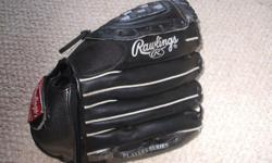 """For Sale: Rawlings ball glove R.H. catch 11"""" sized. `A-Rod`Black with plastict humb cover. Soft Tex inner hand lining.Velcro wrist strap. Clean-Mint condition. $15."""