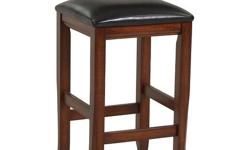 """With grand Old World design and a rich finish, these 24"""" counter height or 30"""" bar height stools brings a classic beauty to the decor of any dining experience. The rich burnished dark brown finish flows over the strong horizontal design and stitched faux"""
