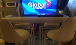 FOR SALE ; BEAUTIFUL BAR WITH STORAGE AND TWO MATCHING BEIGE LEATHER BAR STOOLS WITH FOOT REST ASKING $399 PAID $1100 ,IT IS IN LIKE NEW CONDITION , NO STAINS, NO TAIRS , FROM NONE SMOKING HOME , AND IT IS JUST A YEAR AND 2 MONTHS OLD, IT HAS A VERY