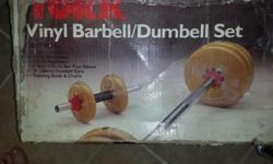 "4 x 2.5 lb. weight discs 4 x 5 lb. weight discs 4 x 10 lb. weight discs 1 - 5'11'' long bar (with sleeve) 2 - 15"" Dumbbell Bars (with sleeve) I Steel Cable Set Excellent condition, rarely used. $ 40.00"