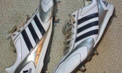For Sale: Adidas baseball shoes-steel cleats. Mens sz. 9.5 usa. Shiny gloss covering for easy cleaning. No rips ,tears,odour..Great condition. $25.