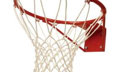Standard size basketball rim for sale. Used, but in good condition. C/w polyester basketball net.