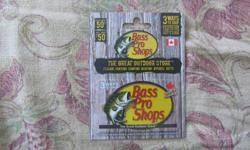 I have a $50 (CDN) Bass Pro Shops gift card that is of no use to me. , 1st $30 gets it.