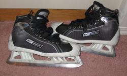 BAUER SUPREME GOALIE SKATES IN EXCELLENT CONDITION, SIZE 8.5, USED VERY LITTLE. $75.00 NO TAX.