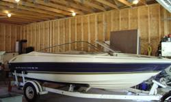 I have a 1996 Bayliner Capris, ski and fish edition.  It has a 3 litre Mercruiser inboard/outboard.  Boat is in excellent condition with no rips in seats.  Has built in live well, and cd player.  It has been winterized and ready for storage.  Sacrifice to