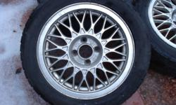 """Up for sale here are BBS Aluminum rims. Rims are 15x6"""" 4x100 bolt pattern. 57.1mm center hole and ET 33 offset. Rims are nice, minimal curbage. they can use a good cleaning though. They have slight lip on them too. Tires are 205 60 R15. they all hold air,"""