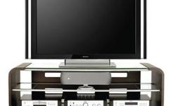 Dark espresso media console with tempered glass. Modern design by Mark Palmquist for BDI. In great condition! The adjustable middle shelf can accommodate a centre channel speaker and other components. The open design allows plenty of air circulation,