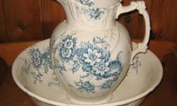 Beautiful China Pitcher and Wash Basin. Blue floral pattern...labelled 'Rudyard'.