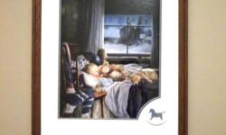 SO PEACEFUL IN A LITTLE BOY'S ROOM.BEAUTIFUL PICTURE OF A TODDLER SLEEPING WITH HIS TEDDY BEAR AND DOG ON A WINTER NIGHT. SEE DETAILS:HOCKEY GEAR ON THE CHAIR,CLOCK SHOWING 5:am (wake up time for practice) PERFECT FOR YOUR FUTURE HOCKEY PLAYER. SURE TO