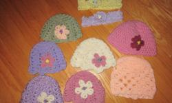 Hand made baby hats, will fit baby newborn up to 6 months. Many different colors and styles. Headbands as well. Please contact with any questions. If asked, custom made hats with specific colors can be made.   Thanks for looking!