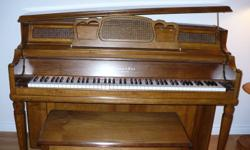 A beautiful Mason & Risch piano in excellent condition, looks like new.  Solid maple construction, ivory keys are pure white and includes solid maple piano bench.  Piano top can open for greater musical sound and design.