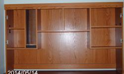 I have a nice solid oak hutch for sale for less than 1/3rd price. light oak color, measures 59 inches wide by 36 inches high by 12 inches deep.It has 2 doors with shelves inside. shelf for cds and dvd's it has two middle shelves. very nice looking.