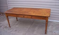 """PINE HARVEST  TABLE WITH GREAT PATINA FROM WILLIAMSFORD ONT. (NEAR OWEN SOUND) THIS TABLE HAS LOADS OF PATINA, IN RESTORED CONDITION. DRAWER REPLACED (ORIGINAL MISSING) .CIRCA 1890 MEASURES 71"""" BY 30""""   CAN BE SEEN AT """"LOCAL MOTIF """"IN THE NORTHGATE PLAZA"""