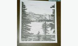 """THIS LOVELY BLACK AND WHITE PRINT OF A STRAIGHT PEN AND INK DRAWING IS A VIEW OF BEAVER MINES ALBERTA. THIS LAKE IS LOCATED WEST OF PINCHER CREEK IN SOUTHERN ALBERTA. THE SIZE OF THE PRINT IS 11 1/2"""" X 13 1/2"""". FOR OTHER INTERESTING ARTWORK, VINTAGE"""