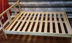"""Full (Double) size bed frame for sale, IKEA model with Sultan Lade slats. Nature pine wood, great condition, 55"""" x 77"""". $40 or best offer. Contact me via email at mikerfitz18@gmail.com"""