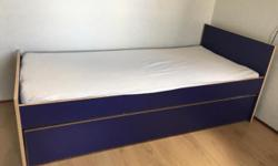 Selling a bedroom set, from IKEA (Robin model). The furniture all has a blue theme to it and includes the following: - Single Bed (with pullout space for a second mattress/storage underneath, see pictures) - Includes mattress - 1 Desk with two shelves,