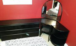8 peice bedroom set 2 x 3 drawer dresser 2 x night tables 1 desk / makeup area with mirror 1 single platform bed (no mattress) decorative corner peice with light can be configured many ways. asking $500 OBO ***motivated to sell***