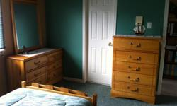 CAPTAIN'S BED TWIN with pillow top mattress, night table, 6 drawer dresser, tall dresser, desk and hutch with chair, all mint condition - MOVING SALE- DOWNSIZING