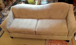 Thank you for your interest in our Beige Couch. *Excellent condition *Suede *Very comfortable *Measures: 32 inches H, x81 inches W, x 35 inches D Hours: * Tues 11 - 4 pm, * Wed & Thurs 11 - 7 pm (open nights), * Fri 11am - 4pm, * Sat 10am - 4pm (open