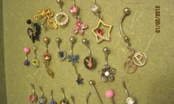 tons of belly button rings, in good condition. serilized with peroxide. $10 .... 519 827 1936