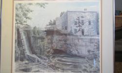 "Beautiful print by renowned Ottawa artist depicting the Ottawa Hydro station. Size framed 24"" x 22"""