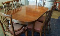 This outstanding diningroom suite has to go! Make us a reasonable offer and it's yours! But please be reasonable, it is quality! Beautiful, 12 piece, inlaid mahogany dining room suite by Kaufman of Collingwood, Ontario, in excellent condition. 1) Table