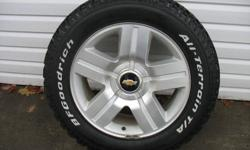 Hell o, I have 4 BF Goodrich All Terrain T/A tires for sell, size 285/55/R20. These tires are like brand new, less than 300km on them.  Selling the tires for $1,000.00 paid twice that. They are on 20 inch 6 bolt rims that are off my 2008 Chevy Truck which