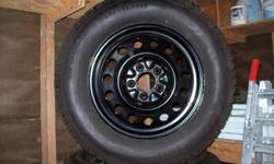 Barely used BFG Winter Slalom Tires 235/65R16 Rims are a 5 bolt pattern were on an 07 chevy crossover SUV and incl. sensors for tire pressure monitoring system (should fit most mid-sized vehicles) Used for 1 winter season aprox. 5000km before vehicle was
