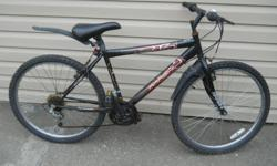 Men's bicycle. Good seat, tires, brakes, fenders and bell. Aluminum rims. Frame size 18 inches. Tire size 26 inches. Ph. 250-388-4438
