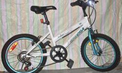 "For Sale; Girls `FlyGirl` bike. 18"" wheels, 12"" frame Frt.& rear `V` Brakes. 5 spd Gripshift,Comfort Selle seat.($30. seat) Kickstand,Bell. Clean and solid....$40."
