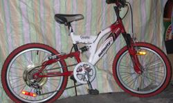 """For Sale: Infinity `Quake` Kids -Dual suspension Bike . 20"""" wheels-red/black tires very good condituion. 6 spd.Gripshift,frt. & rear `V`Brakes. Velo seat & Quik release seatpost. Kickstand, Very good condition. Ideally for kid between age 8-11...$45."""