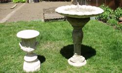 """Combined a birdbath & sundial from two sep. pieces. 25""""H Bowl 20""""Dia. Base with crack on neck of urn included free. PRICE FIRM"""