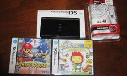 Black DS. works great. comes with mario and sonic at the oylimpic games (2008) and scribblenauts. minimal scratching as no effect on gameplay. new multi-purpose charger included.