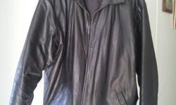 "Black GAP leather jacket. No scuffs or tears. Size XXL (would fit someone around 6' and chest size around 46"") Asking 60.00 obo"