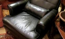 Thank you for your interest in our Black Leather Chair. *Excellent condition *Leather *Leather throw pillow *Two chairs available *Measures: 33 inches L, x30 inches W, x 30 inches D Hours: * Tues 11 - 4 pm, * Wed & Thurs 11 - 7 pm (open nights), * Fri