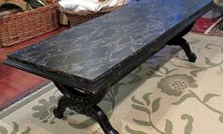 Thank you for your interest in our Black Marbles Coffee Table. * Excellent condition * Marbled finish * Carved legs * Measures: 48 inches W, x 16 inches H, x 19 inches D Hours: * Tues 11 - 4 pm, * Wed & Thurs 11 - 7 pm (open nights), * Fri 11am - 4pm, *