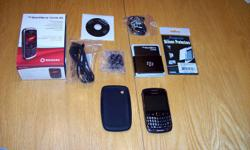 Rogers Blackberry Curve 9300 3G Mint condition, used 7 months, always with a case. No scratches or marks. Comes with all original components, travel charger, USB cable, 2 GB Micro SD card, stereo headset (never opened), user guide PLUS one new screen