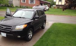 Colour black kms 135000 2008 Black Sante Fe SUV for Sale, great shape, 135k, clean look inside and out, will need a new windshield and breakpads to certify (~ $300). heated seats, tinted windows, xm/sirus radio. call or text 705-971-5799 to take a look,