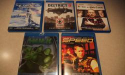 I have a few Blu-rays for sale. All discs and cases are in near-mint condition. Price is $5 per movie or $20 for the set, firm. - The Day After Tomorrow - District 9 - He Was a Quiet Man - Hulk - Speed Thanks for looking. :-)