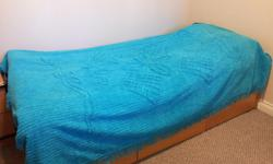 I have 1 lighter blue and 1 darker, both fit single/double beds. These bed spreads have been used once and then stored away in my closet. They have beautiful detailed velvet like surface.