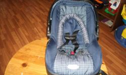 Used infant car seat for sale. Blue in color. Date manufactured 05/15/2007. Seat is 4 years old, and will be good for 6 more years.  4 shoulder adjustment sizes and 3 bottom buckle spots to choose from as baby grows. Instructional book as well. Pet free,