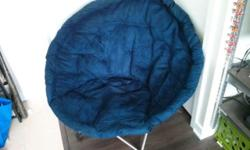 Collapsible dark blue folding bowl chair. Super comfy!